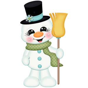 snowman with broom and hat