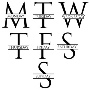 days of the week monograms