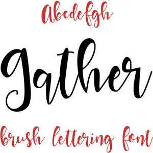 gather brush lettering font