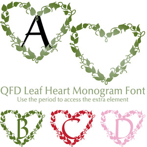 qfd leaf heart monogram font