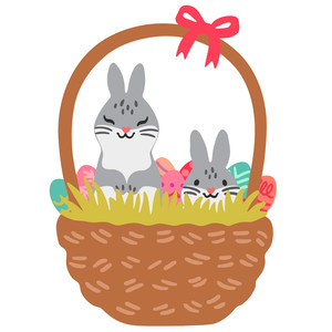 easter bunnies in a basket