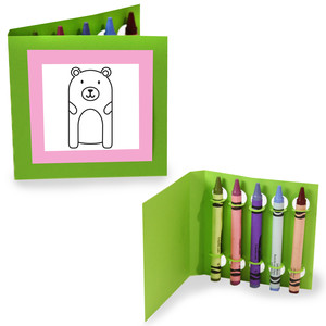 crayon holding square coloring cards - bear