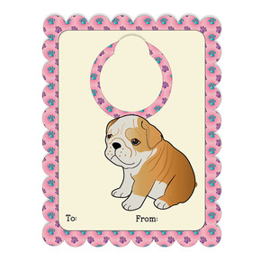 bulldog bottle tag on a2 card