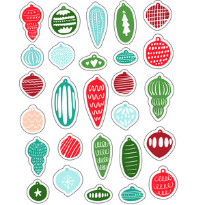 ml christmas designed ornaments stickers