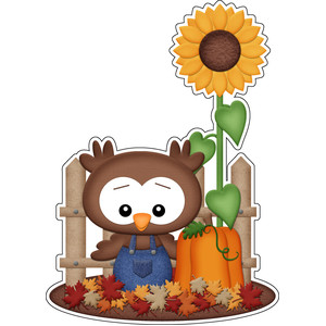 autumn owl with fence sticker