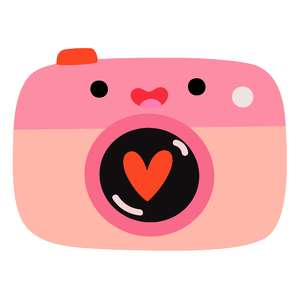 kawaii camera with heart