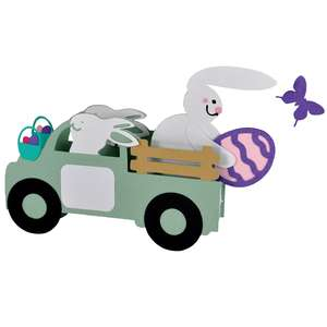 3d big bunny express easter truck card