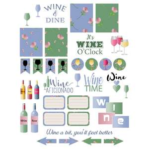 planning stickers, wine-themed