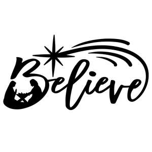 believe christmas design with nativity scene