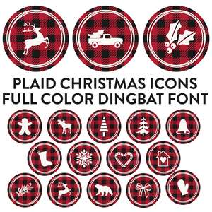 plaid christmas icons full color dingbat font