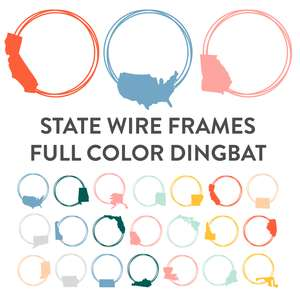 state wire frames full color dingbat font