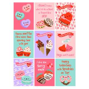 kawaii sweet treats friend valentine cards