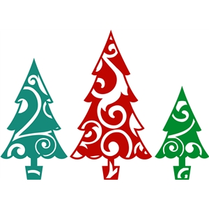 3 flourished christmas trees