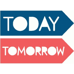 today & tomorrow word arrows
