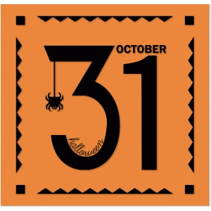 """31"" halloween panel with spider and frame borders"