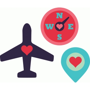 travel icons: airplane & compass