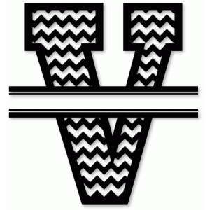 chevron split monogram v
