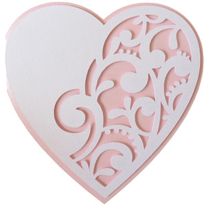 curly heart layer shape card