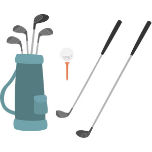 golf clubs and ball