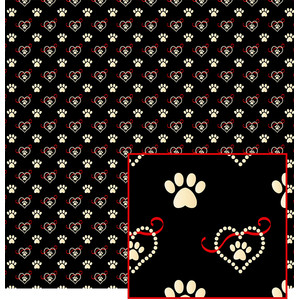 hearts and paws pattern