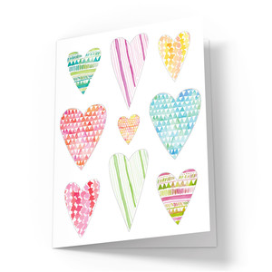 cute painted hearts card