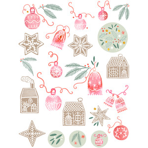 gingerbread and baubles stickers