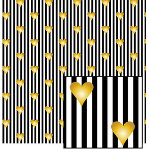 gold hearts on stripes pattern