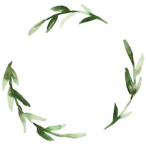 green leaves watercolor wreath