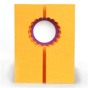 3d double gate fold window card - scalloped circle