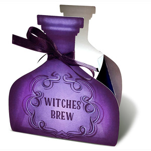printable halloween treat bottle box - witches brew