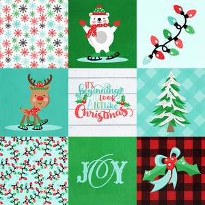 4x4 christmas elements background paper