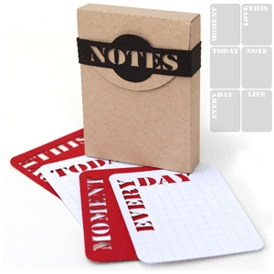 3d 'notes' box with 6 life cards