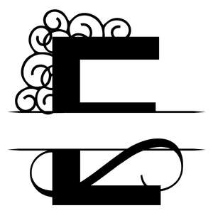 e split monogram family name sign