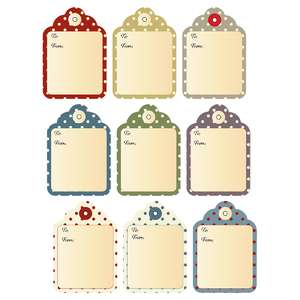 fall colors, polka dot gift tags