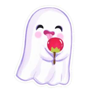 kawaii ghost with a candy apple