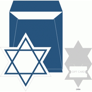 star of david gift card holder + envelope