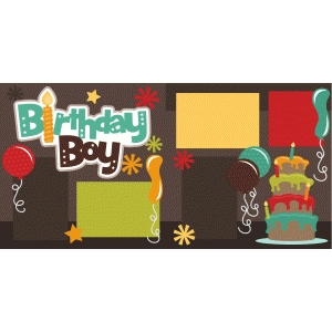 birthday boy 2 page scrapbook kit