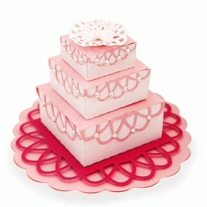 layered 3 tier doily cake
