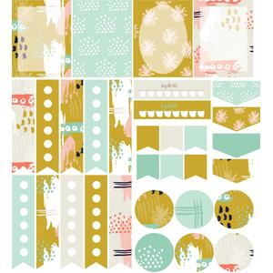 abstract planner stickers: mustard yellow set