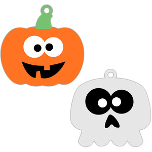 squash and skull halloween tags