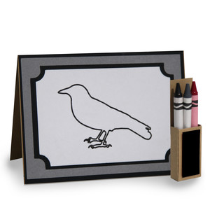 4 in. x 5.5 in. crow coloring card and crayon box