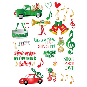 christmas music-themed planner stickers