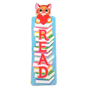 kitty cat valentine's bookmark