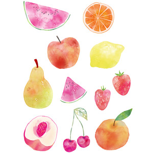 watercolor fruit food art stickers