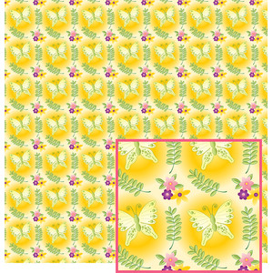 butterfly and flowers on yellow pattern