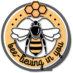 bee bee lieving you round 6x6 card
