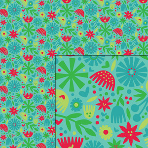 nordic holiday winter floral pattern