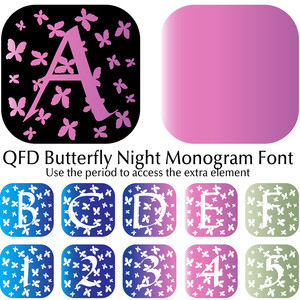 qfd butterfly night monogram font