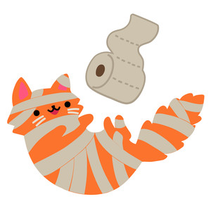 kawaii toliet paper mummy cat