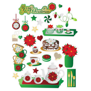 poinsetttia-themed christmas elements planning stickers